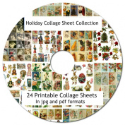 24 Holiday Vintage Collage Sheets Collection 22cm x 28cm On CD Printabe jpg pdf Scrapbooking, Altered Art, Decoupage