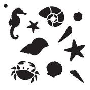 Beachcombing - Pattern Stencil - 15cm x 15cm