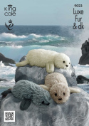King Cole Luxe Fur & Pricewise DK Knitting Pattern for Knitted Seals Family Fun Craft