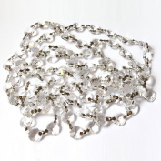 Magnificent Crystal Clear Chain 100cm Octagon Crystal Garland Clear & Chrome By CrystalPlace