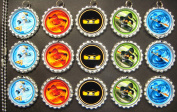 15 Special Assorted Ninjago SILVER Bottle Cap Pendant Necklaces Set 1