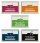 Lawn Fawn - Dye Ink Pads - Black Licorice, Cranberry, Deep Sea, Fake Tan & Freshly Cut Grass