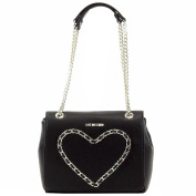 Love Moschino Women's Chain Heart Flap Over Leather Satchel Handbag