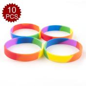 (Price/10 Pcs)GOGO Rainbow Pride Silicone Wristbands, Rubber Bracelets, Party Favours