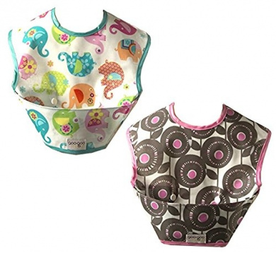 Two Spill-proof Bibs with Extra Large Mess Catching Pocket - Wipes Clean & Stores Flat (Flowers & Elephants)