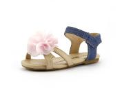 Girl's Summer Princess Pink Floral Sandal Shoes Blue Denim hook and loop Strap Toddler Size