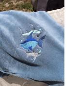 Ultra Soft Embroidered SHARKS ~ Blue Baby Blanket