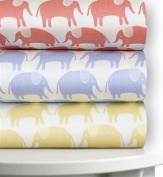 Magnolia Organics Printed Crib Sheet, 300 Thread Count Sateen - Standard, Wheat Elephant