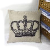 DDU(TM) 1Pc Big Crown Print Home Sofa Throw Pillow Cushion Cotton Linen Case Cover Pillowcase