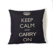 DDU(TM) 1Pc Black Crown Print Home Sofa Throw Pillow Cushion Cotton Linen Case Cover Pillowcase