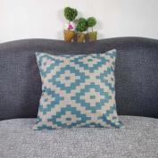 DDU(TM) 1Pc Sawtooth Rhombus Cotton Linen Home Sofa Throw Pillow Cushion Case Cover Pillowcase