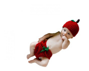 Pinbo Newborn Baby Knitted Crochet Fruit Apple Hat Nappy Photography Prop