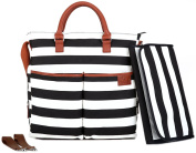 Nappy Bag by Hip Cub - Plus Matching Baby Changing Pad - Black and White Stripe Designer Cotton Canvas W/ Cute Tan Trim