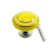 DDU(TM) 1Pc Yellow Ceramic Round Cupboard Wardrobe Door Drawer Knob Pull Handle