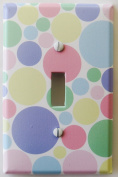 Pastel Multi Coloured Dot Light Switch Plate Cover in Pink, Blue, Green, Yellow, and Pule