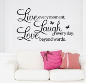 SWORNA English Proverb Series Live Every Moment Laugh Every Day Love Beyond Words with 2 Butterflies Removable Vinyl Wall Art Decals Wall Saying Lettering Quotes Decal Stickers Uplifting Decor for Living Room/Bedrooms/Dinning Room/Home Office/Playroom ..