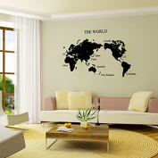 Aiwall Wall Stickers the World Map for Living Room DIY Home Decorations Wall Decals 9123