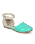 Little Angel CH91 Girl Patent Two Tone D'orsay Round Toe Ankle Strap Flat (Toddler) - Teal / Beige