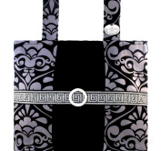 Silver & Onyx Damask - Sophisticated, Functional Walker Bag With Bling