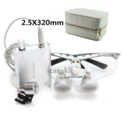 icarekit 2.5X 320mm! Dental Surgical Medical Binocular Loupes + LED Head Light Lamp Silver + Carry Bag