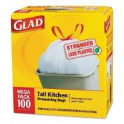 Tilex 78526 Tall Kitchen Drawstring Bags, 24 x 27 3/8, 49.2l .95mil, White, 100/Box