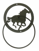 Western Running Horse Metal Towel Ring - Dark Brown Finish - 30cm x 36cm