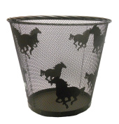 Western Running Horses Metal Wire Wastebasket - Dark Brown Finish - 30cm x 36cm