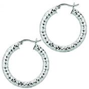 Ladies White Rhodium Silver Diamond Cut Hoop Earring AGE564
