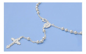 Sterling Silver Rosary Cross Pendant Necklace with Beads - Length