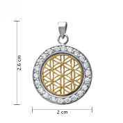 WithLoveSilver Sterling Silver 925 Charm Flower of Life Pink Gold Plated with CZ Pendant