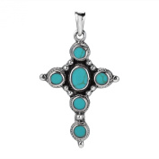 Intricate Green Turquoise Inlay Circle of Faith Cross .925 Silver Pendant