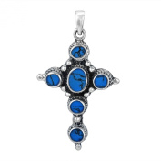 Intricate Blue Turquoise Inlay Circle of Faith Cross .925 Silver Pendant