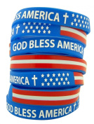 Silicone God Bless America Red White and Blue Bracelet, Pack of 24, 20cm