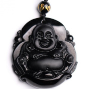 Natural Obsidian Laughing Buddha Maitreya Buddha Pendant Security and peace