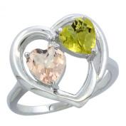 10K White Gold Diamond Two-stone Heart Ring 6mm Natural Morganite & Lemon Quartz, sizes 5-10