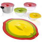 3 Universal Reusable Silicone Airtight Lid Food Storage Pot-to-Fridge Bowl Cover