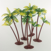 14cm Height LOT 5 Coconut Palm Palms Twin Coconut Tree Trees Aquarium Terrariums Miniature Garden Fairy Gardens Doll House Cake Topper Resin Decoration