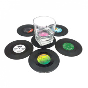 Voberry® 6 PCS Creative Drink Placemat Spinning Retro Vinyl Cd Record Drinks Coasters