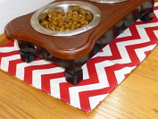 Red & White Chevron Pet Place Mat
