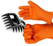 Silicone Kitchen Gloves with Bear Claw Meat Shredders/Servers