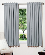 Best Home Fashion Thermal Insulated Blackout Curtains - Back Tab/ Rod Pocket - Grey - 130cm W x 160cm L -