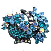 Mutlicolor Crystal Blue Flower Basket Pin . Crystal Flower Pin Brooch