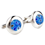 Floral style Venetian millefiori Silver and Blue Cufflinks