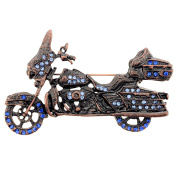 Blue Motorcycle Copper Crystal Pin Brooch