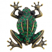 Vintage Style Emerald Green Frog Crystal Pin Brooch