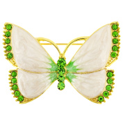 White Green Butterfly Crystal Pin Brooch