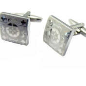 Silver Square Flower Cuff links