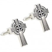Silver And Black Celtic Cross Cufflinks