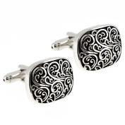 Black and Silver Engraved Vine Design Cufflinks