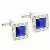 Sapphire Blue Square Crystal Silver Cufflinks